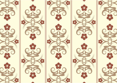 sixties: Floral vintage wallpaper pattern with three colors