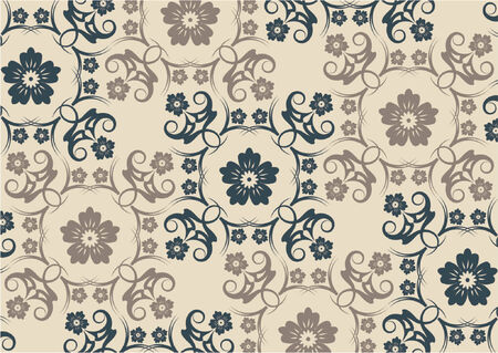 Floral vintage wallpaper pattern with two colors