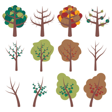 four of a kind: Different kind of stylized trees representing the four seasons over white background Illustration