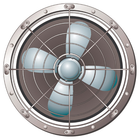 air hole: Fan protected by a metal grid over white background