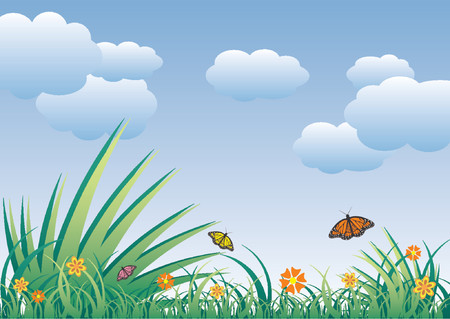 Spring field full of flowers and flying butterflies over cloudy blue sky