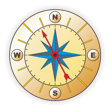 Compass with windrose over white background