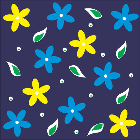 Floral blue and yellow pattern over navy blue background Vector