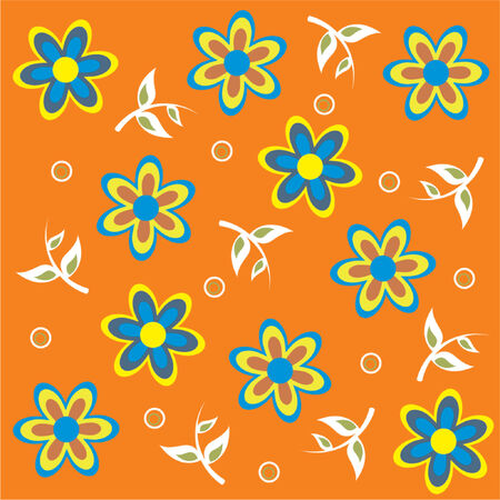 Floral blue and yellow pattern over orange background Vector