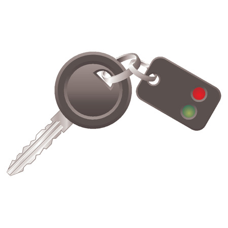 Car key with remote control isolated over white background Illustration