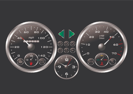 Dashboard of a sport car over black background Vector