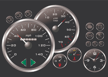 kilometer: Dashboard of a sport car over black background