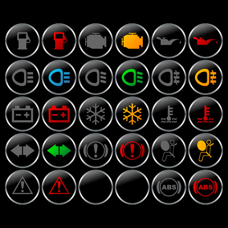 Different Car Dashboard Symbols With Lights On And Off Royalty Free