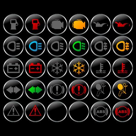 Diversos símbolos del tablero de instrumentos del coche con las luces por intervalos Foto de archivo - 921886