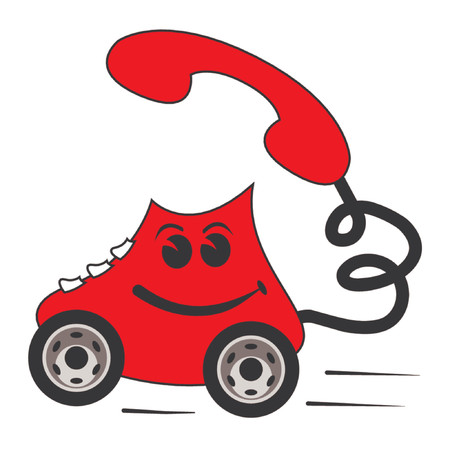 communication metaphor: Cartoon of a classic red phone on wheels over white background