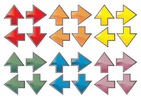 Arrow sets with different colors and pointing different directions Vector