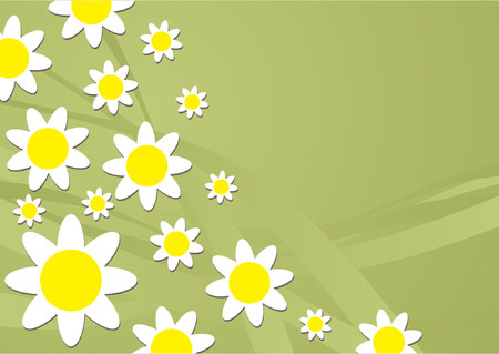 seasonable: White and yellow flowers pattern over green gradient background