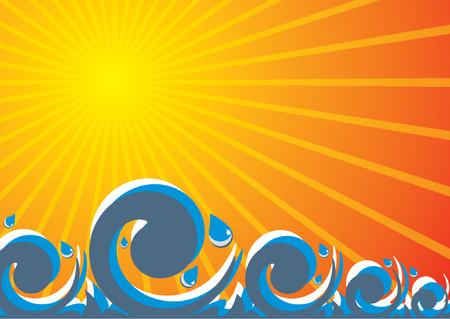 Abstract representation of a wavy sea under the sun