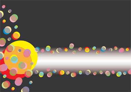 Abstract pattern made of different circles and colors with copy space over black background