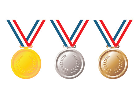Set of gold, silver and bronze medals with tricolor ribbon over white background Illustration