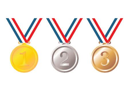 conquistando: Conjunto de oro, plata y bronce con la cinta tricolor en fondo blanco