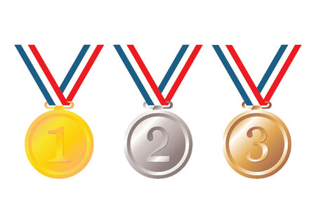 Set of gold, silver and bronze medals with tricolor ribbon over white background Stock Vector - 964206
