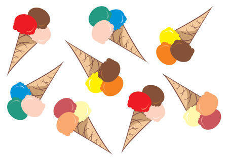 Ice cream pattern. Ice cream cone over white background Vector