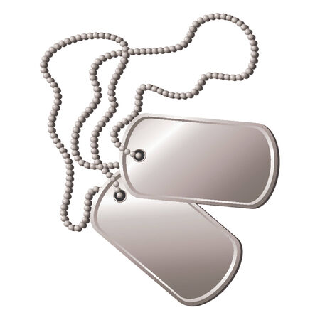 Pair of dog tags or identity plates with copy space over white background Vector