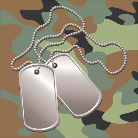 Pair of dog tags or identity plates with copy space over camouflage background Illustration
