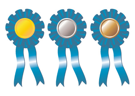 Set of award blue rosettes with gold, silver and bronze medals on the middle and two ribbons falling down over white background Stock Vector - 964366