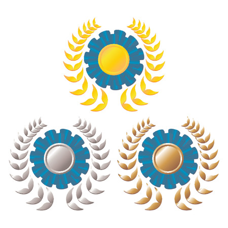 Set of award blue rosettes with gold, silver and bronze medals on the middle and laurel wreath around over white background