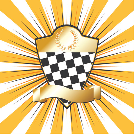 conquistando: Racing escudo sobre fondo de rayas