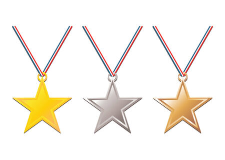 Set of gold, silver and bronze medals with tricolor ribbon over white background Stock Vector - 979440