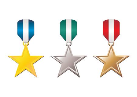 conquistando: Conjunto de oro, plata y bronce con cinta tricolor sobre fondo blanco