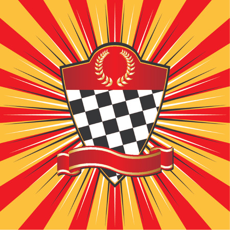 conquering: Racing shield over striped background Illustration