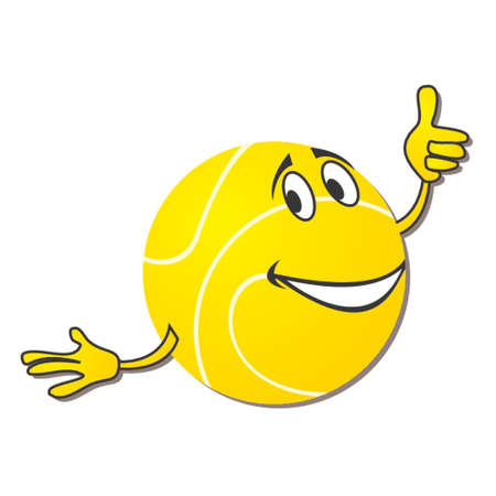 Tennis ball cartoon isolated over white background