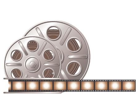 carrete de cine: Bobina de pel�cula sobre fondo blanco