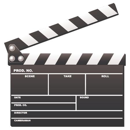clap board: Inaugurado pel�cula clapboard utilizados por los directores de cine sobre fondo blanco