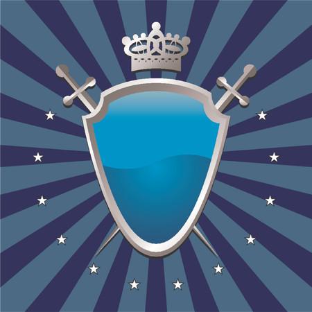grooved: Ornamental shield over striped background Illustration