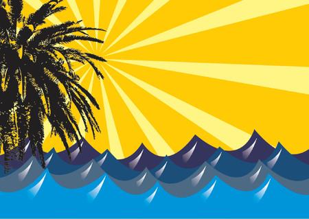 partial: Resumen ondulado mar de sol y visi�n parcial de una palmera