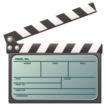 producer: Opened digital movie clapboard with lcd over white background
