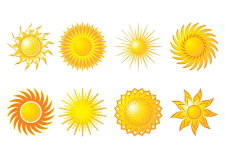 Different kind of abstract suns over white background