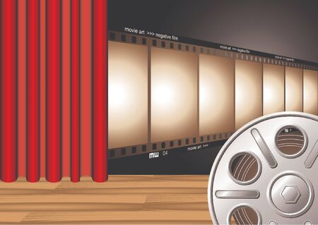 oscars: Theater curtain with film strip on stage and film reel at the foreground