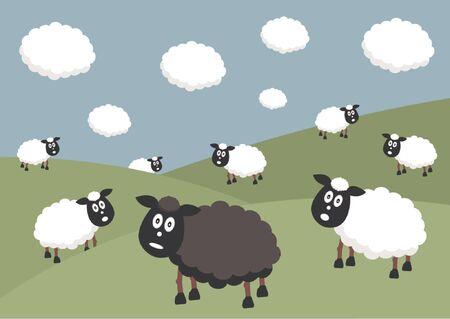 mouton noir: Troupeau de moutons avec les moutons noirs de la