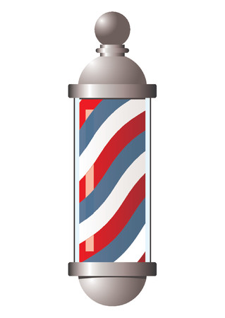 barber pole: Vintage barber pole over white background Illustration