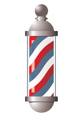 Vintage barber pole over white background Illustration