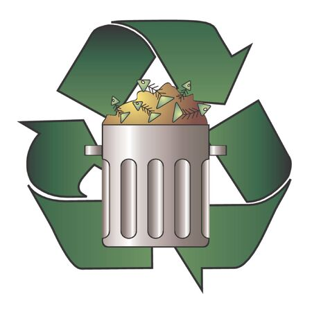 receptacle: Opened trash can and recycle symbol over white background