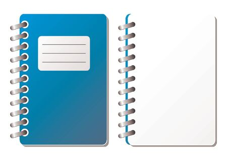 ruled: Opened notebook with ruled sheets over white background
