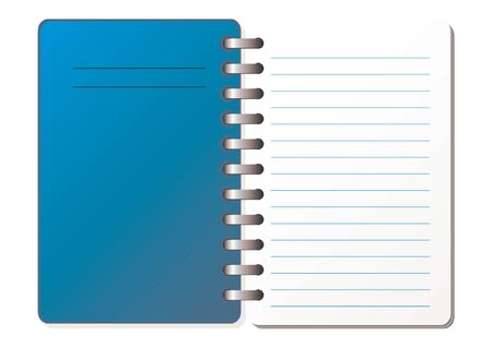 ruled: Opened and closed notebook with blank sheet over white background