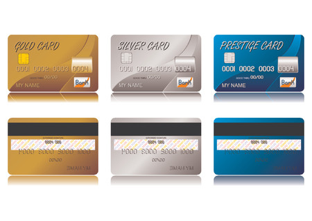 Different credit cards isolated over white background Illustration