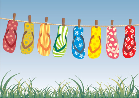 slipper: Beach sandals. Different colorful flip-flops hanged on a rope. Illustration