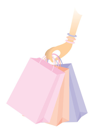 végtag: Feminine arm holding colorful shopping bags over white background