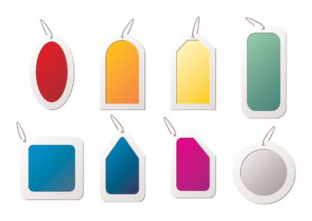 Tags with different colors and shapes over white background Illustration