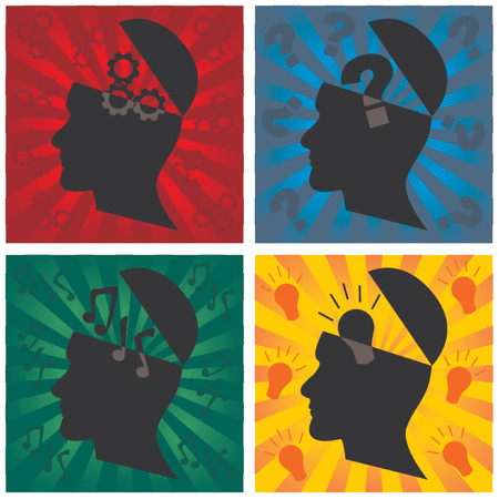thought: Head silhouette representing different thoughts