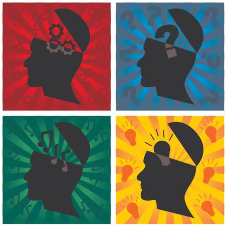 Szef sylwetka reprezentujących różne myśli Ilustracje wektorowe